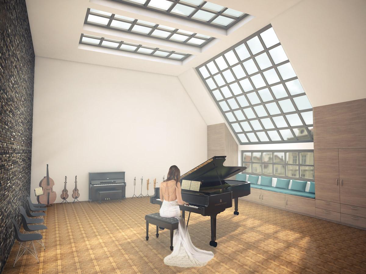 render architecture piano space